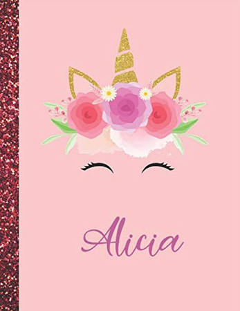 Alicia: Alicia Marble Size Unicorn SketchBook Personalized White Paper for Girls and Kids to Drawing and Sketching Doodle Taking Note Size 8.5 x 11