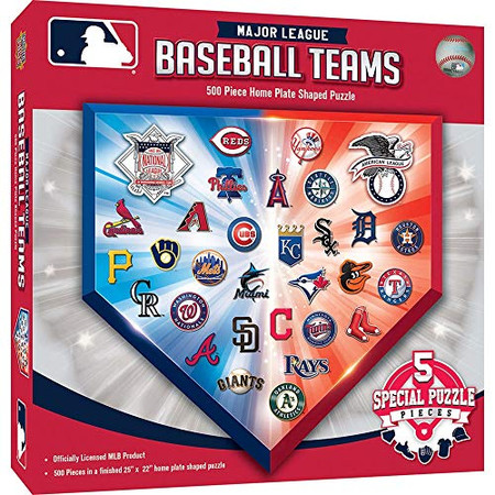 MasterPieces MLB Team Logos 500pc Homeplate Shaped Puzzle