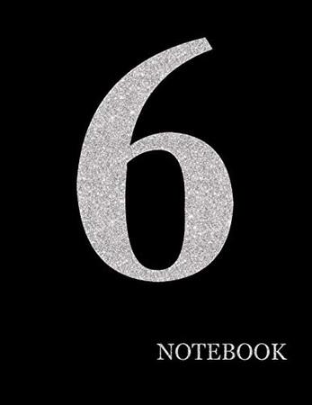 Perfectionist Notebook Brilliant Silver Number 6 Black Notebook| Brilliant Glitter Silver Number 6 Black Notebook Grid Sturdy High Quality Premium White Paper 8.5x11 200 pages| (Luxury Silver)