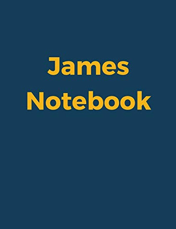 """James Notebook: Blue Navy Cover, College Ruled, 100 Sheets, 8.5"""" x 11"""" (Letter Size), White Paper (Custom Names)"""