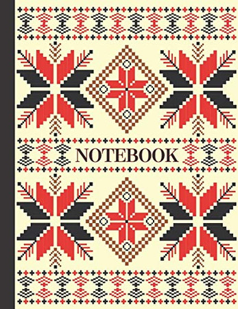 NOTEBOOK: Ruled pages - 8.5 x 11 inches - 100 pages - My Fallahi Cross Stitch Embroidery Pattern (BLACK & CREAM)
