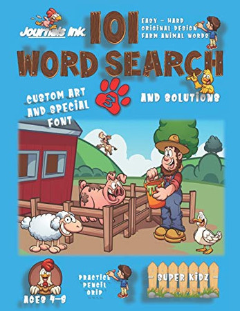 101 Word Search for Kids 3: SUPER KIDZ Book. Children - Ages 4-8 (US Edition). Happy Friends. Farm Animals Words with custom art interior. 101 Puzzles ... - Farm Animals Word Search for Kids)