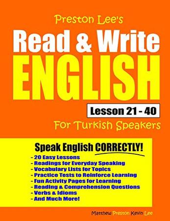 Preston Lee's Read & Write English Lesson 21 - 40 For Turkish Speakers (Preston Lee's English For Turkish Speakers)