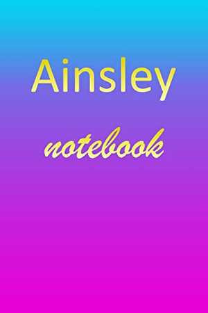 Ainsley: Blank Notebook | Wide Ruled Lined Paper Notepad | Writing Pad Practice Journal | Custom Personalized First Name Initial A Blue Purple Gold | ... Homeschool & University Organizer Daybook