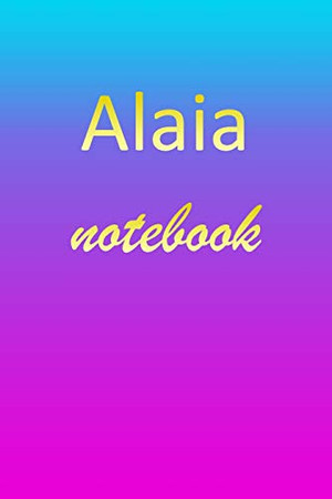 Alaia: Blank Notebook | Wide Ruled Lined Paper Notepad | Writing Pad Practice Journal | Custom Personalized First Name Initial A Blue Purple Gold | ... Homeschool & University Organizer Daybook