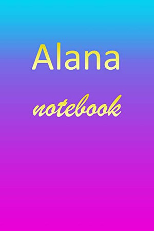 Alana: Blank Notebook | Wide Ruled Lined Paper Notepad | Writing Pad Practice Journal | Custom Personalized First Name Initial A Blue Purple Gold | ... Homeschool & University Organizer Daybook