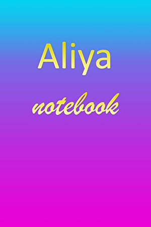 Aliya: Blank Notebook | Wide Ruled Lined Paper Notepad | Writing Pad Practice Journal | Custom Personalized First Name Initial A Blue Purple Gold | ... Homeschool & University Organizer Daybook