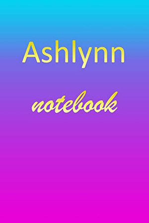 Ashlynn: Blank Notebook | Wide Ruled Lined Paper Notepad | Writing Pad Practice Journal | Custom Personalized First Name Initial A Blue Purple Gold | ... Homeschool & University Organizer Daybook