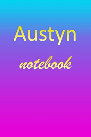 Austyn: Blank Notebook   Wide Ruled Lined Paper Notepad   Writing Pad Practice Journal   Custom Personalized First Name Initial A Blue Purple Gold   ... Homeschool & University Organizer Daybook