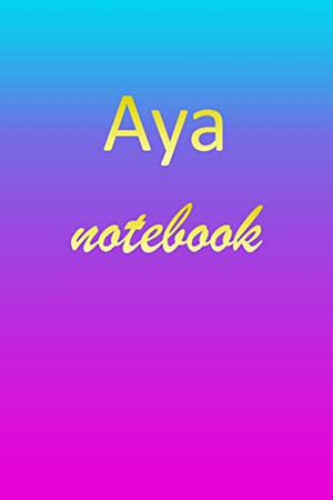 Aya: Blank Notebook   Wide Ruled Lined Paper Notepad   Writing Pad Practice Journal   Custom Personalized First Name Initial A Blue Purple Gold   ... Homeschool & University Organizer Daybook