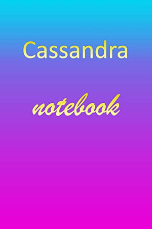 Cassandra: Blank Notebook | Wide Ruled Lined Paper Notepad | Writing Pad Practice Journal | Custom Personalized First Name Initial C Blue Purple Gold ... Homeschool & University Organizer Daybook
