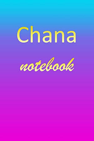 Chana: Blank Notebook | Wide Ruled Lined Paper Notepad | Writing Pad Practice Journal | Custom Personalized First Name Initial C Blue Purple Gold | ... Homeschool & University Organizer Daybook