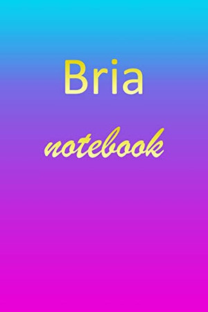 Bria: Blank Notebook | Wide Ruled Lined Paper Notepad | Writing Pad Practice Journal | Custom Personalized First Name Initial B Blue Purple Gold | ... Homeschool & University Organizer Daybook