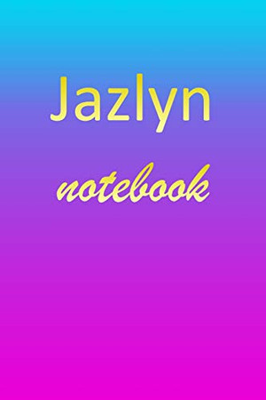 Jazlyn: Blank Notebook | Wide Ruled Lined Paper Notepad | Writing Pad Practice Journal | Custom Personalized First Name Initial J Blue Purple Gold | ... Homeschool & University Organizer Daybook