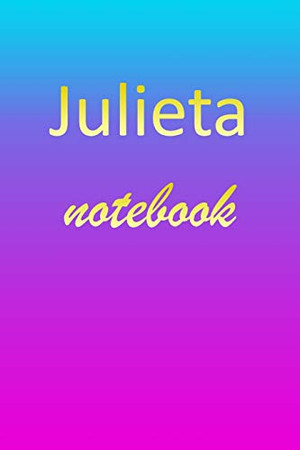 Julieta: Blank Notebook   Wide Ruled Lined Paper Notepad   Writing Pad Practice Journal   Custom Personalized First Name Initial J Blue Purple Gold   ... Homeschool & University Organizer Daybook