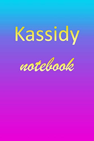 Kassidy: Blank Notebook | Wide Ruled Lined Paper Notepad | Writing Pad Practice Journal | Custom Personalized First Name Initial K Blue Purple Gold | ... Homeschool & University Organizer Daybook