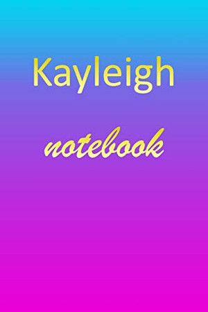 Kayleigh: Blank Notebook | Wide Ruled Lined Paper Notepad | Writing Pad Practice Journal | Custom Personalized First Name Initial K Blue Purple Gold ... Homeschool & University Organizer Daybook