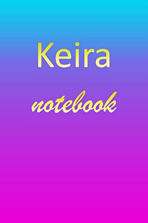 Keira: Blank Notebook | Wide Ruled Lined Paper Notepad | Writing Pad Practice Journal | Custom Personalized First Name Initial K Blue Purple Gold | ... Homeschool & University Organizer Daybook