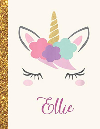 Ellie: Ellie Unicorn Personalized Black Paper SketchBook for Girls and Kids to Drawing and Sketching Doodle Taking Note Marble Size 8.5 x 11