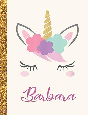 Barbara: Barbara Unicorn Personalized Black Paper SketchBook for Girls and Kids to Drawing and Sketching Doodle Taking Note Marble Size 8.5 x 11