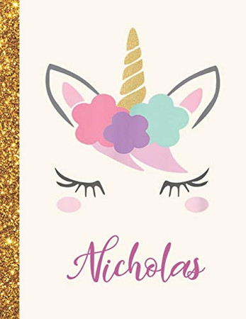 Nicholas: Nicholas Unicorn Personalized Black Paper SketchBook for Girls and Kids to Drawing and Sketching Doodle Taking Note Marble Size 8.5 x 11