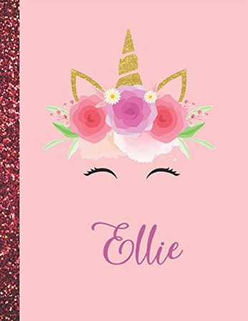 Ellie: Ellie Marble Size Unicorn SketchBook Personalized White Paper for Girls and Kids to Drawing and Sketching Doodle Taking Note Size 8.5 x 11