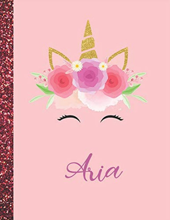 Aria: Aria Marble Size Unicorn SketchBook Personalized White Paper for Girls and Kids to Drawing and Sketching Doodle Taking Note Size 8.5 x 11