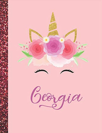 Georgia: Georgia Marble Size Unicorn SketchBook Personalized White Paper for Girls and Kids to Drawing and Sketching Doodle Taking Note Size 8.5 x 11