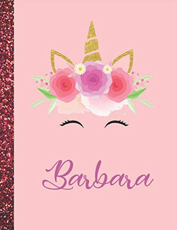 Barbara: Barbara Marble Size Unicorn SketchBook Personalized White Paper for Girls and Kids to Drawing and Sketching Doodle Taking Note Size 8.5 x 11