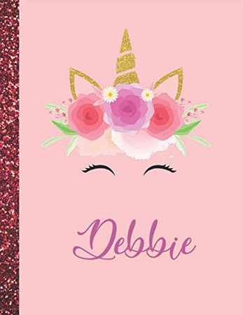Debbie: Debbie Marble Size Unicorn SketchBook Personalized White Paper for Girls and Kids to Drawing and Sketching Doodle Taking Note Size 8.5 x 11