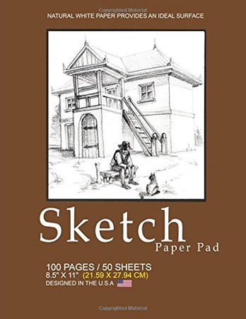 Sketch Paper Pad: Classic Sketch Pad Notepad, 8.5 x 11 (21.59 x 27.94 cm), 100 pages, 50 sheets, Soft Durable Matte Cover(Brown)