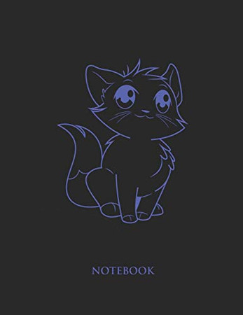 Cute Cat Notebook: College Wide Ruled Notebook - Large (8.5 x 11 inches)  - 110 Numbered Pages - Blue Softcover