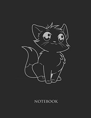 Cute Cat Notebook: College Wide Ruled Notebook - Large (8.5 x 11 inches)  - 110 Numbered Pages - Silver Softcover