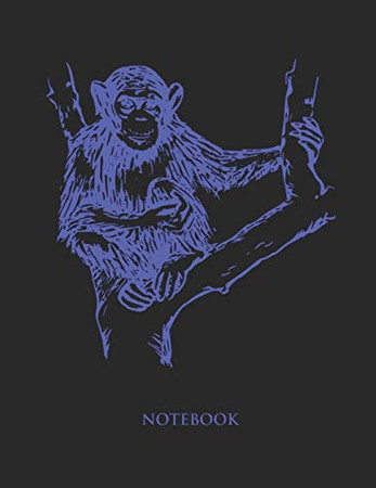 Chimpanzee Notebook: Hand Writing Notebook - Large (8.5 x 11 inches)  - 110 Numbered Pages - Blue Softcover