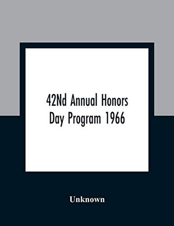 42Nd Annual Honors Day Program 1966