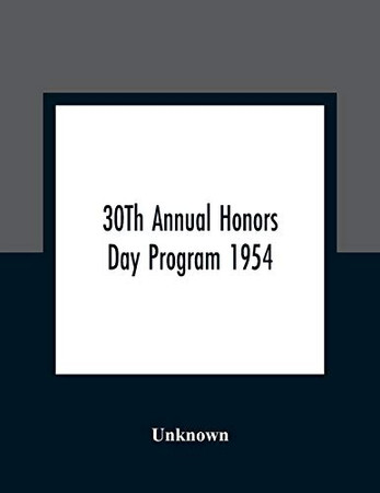 30Th Annual Honors Day Program 1954