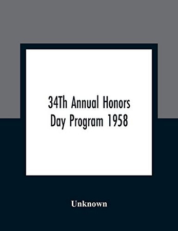 34Th Annual Honors Day Program 1958