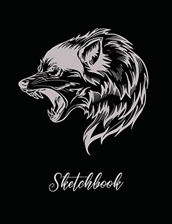 Sketchbook: Large 8.5x11 for Drawing, Sketch, Painting, Watercolor, Creation: 110 pages. Notebook and Sketchbook for Artist,Pencil, Markers, Paint. ( Black Wolf Cover )