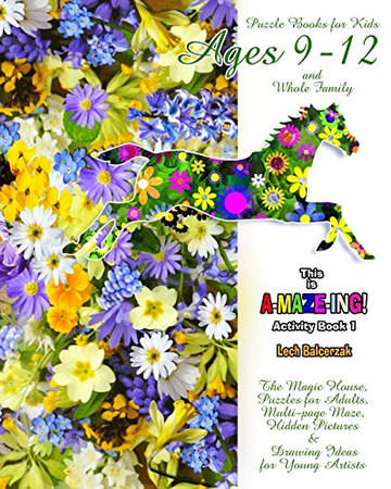 Puzzle Books for Kids Ages 9-12 and Whole Family. Activity Book 1. The Magic House, Puzzles for Adults, Multi-page Maze, Hidden Pictures & Drawing Ideas for Young Artists. (This is A-MAZE-ING!)