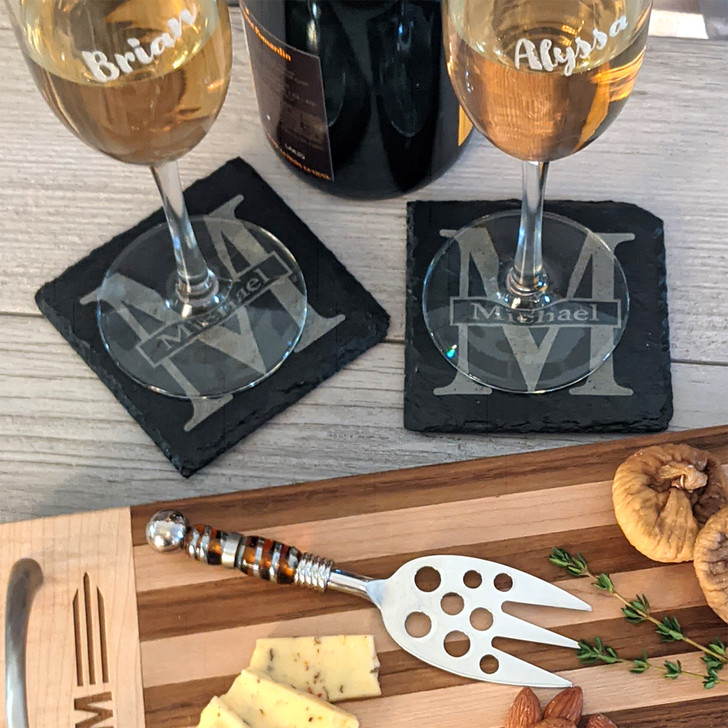 Set of 4 Slate Coasters for Bride and Groom