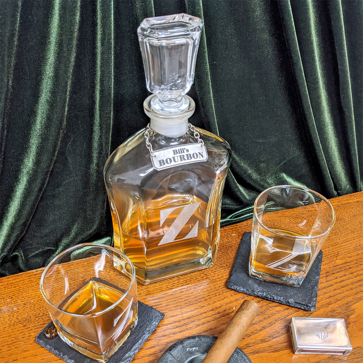 Decanter with Personalized Tag
