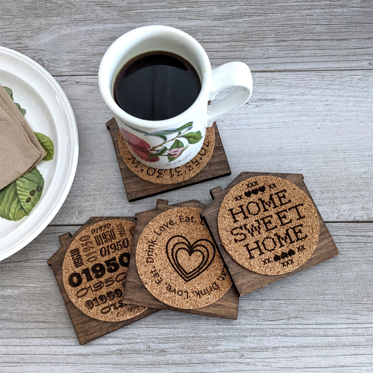 Set of 4 Personalized House-shaped Coasters