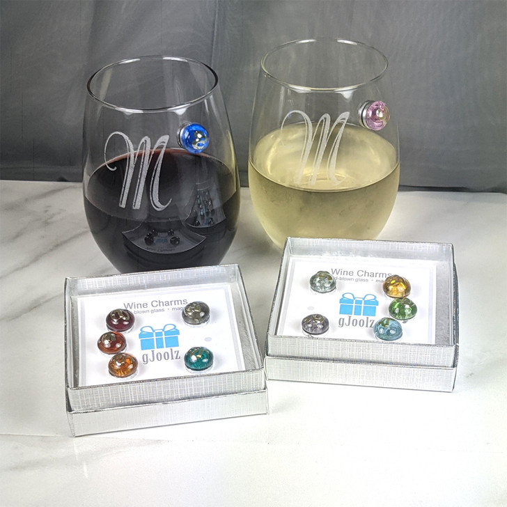 Magnetic Wine Charms with Hand Blown Glass