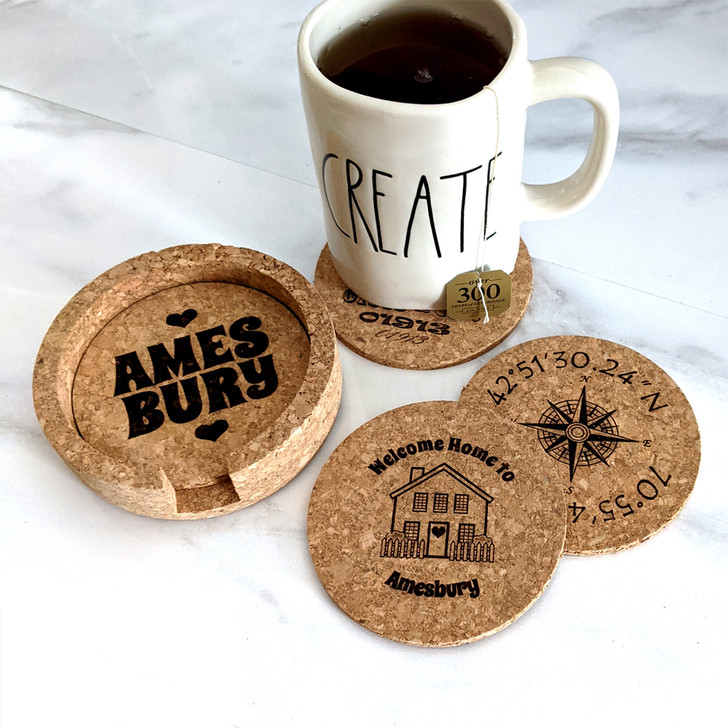 Set of 4 Personalized 'Townie' Cork Coasters in Cork Holder