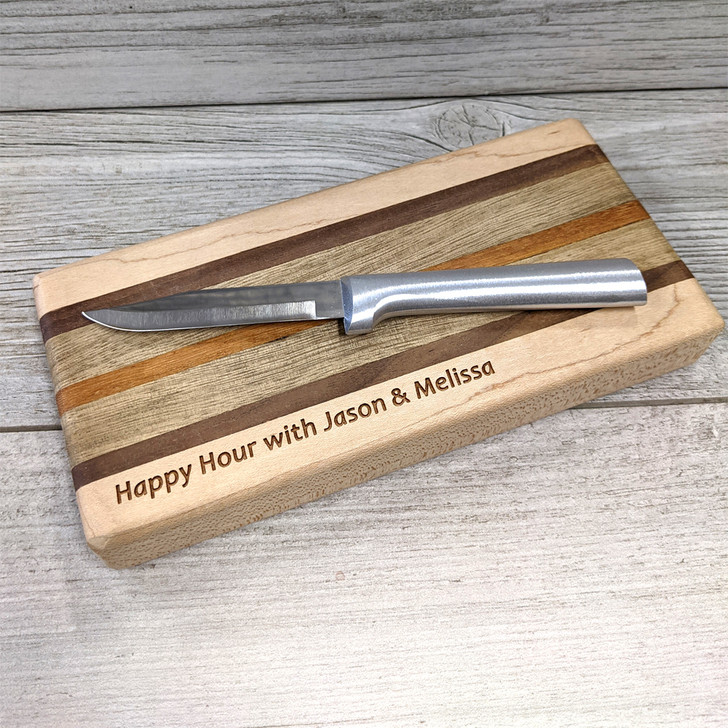 Personalized Happy Hour Cocktail Board and Knife Set