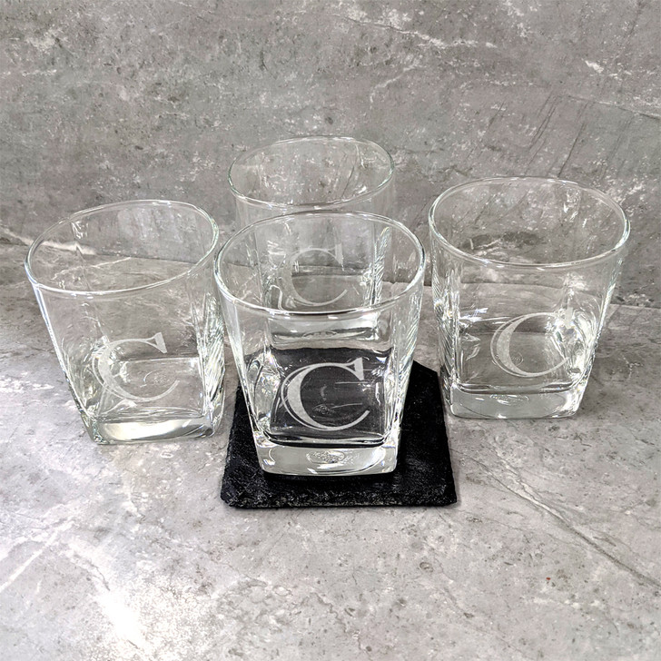 Set of 4 Rocks Glasses for Bride and Groom