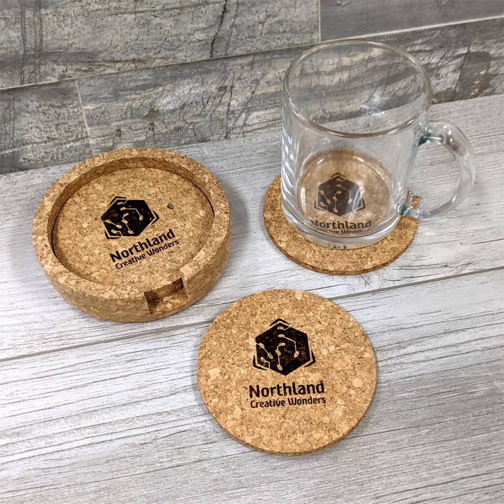 Set of Logo Cork Coasters in Cork Holder with Professional Customization