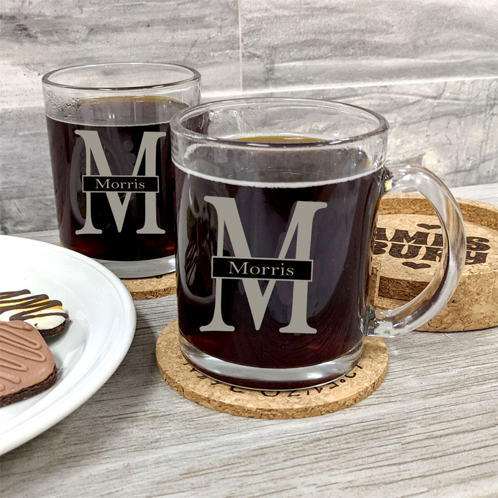 Set of 2 Glass Coffee Mugs with Client Personalization