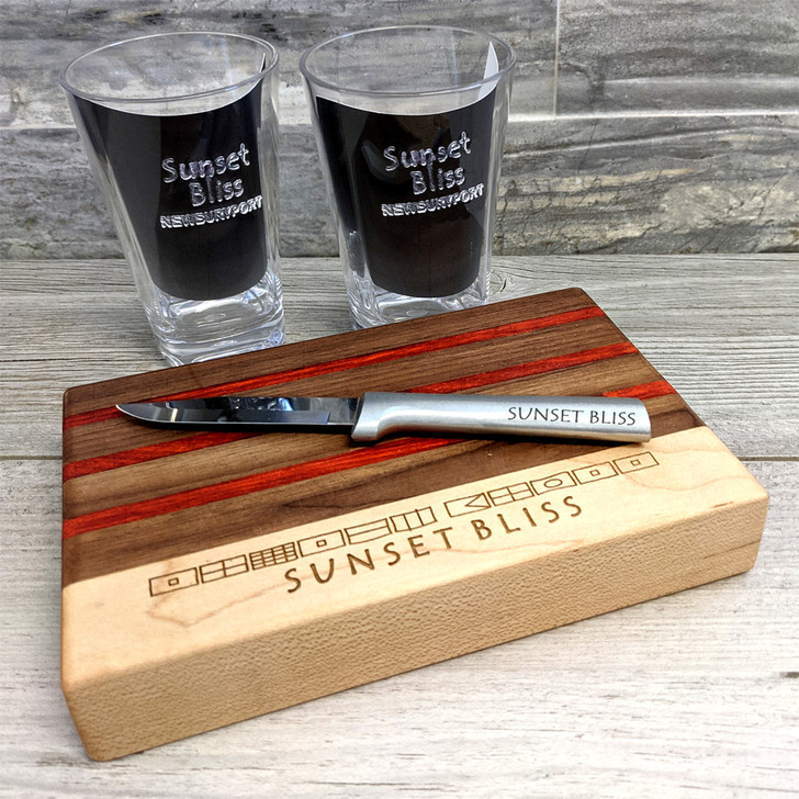 Nautical Cocktail Board and Knife Set with Client Personalization
