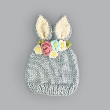 The Blueberry Hill Bailey Bunny with Flowers Knit Hat